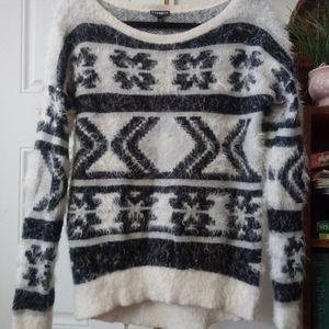 Express Women's Eyelash Black & White Cozy Sweater